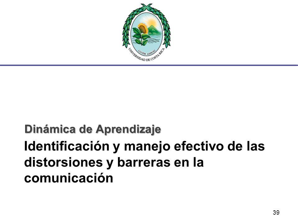 Identificación y manejo efectivo de las distorsiones y barreras en la comunicación Dinámica de Aprendizaje 39