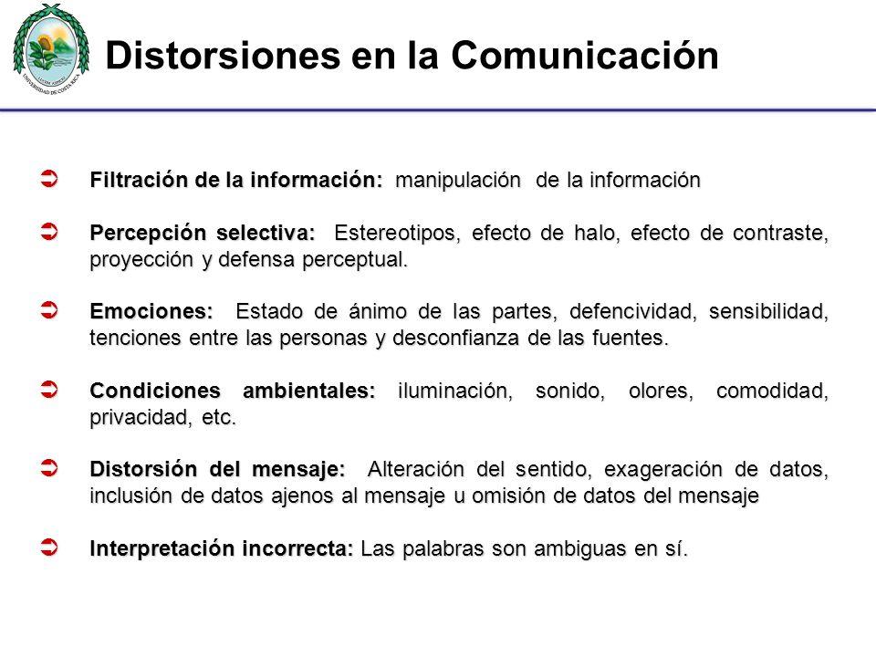 Filtración de la información: manipulación de la información Filtración de la información: manipulación de la información Percepción selectiva: Estere