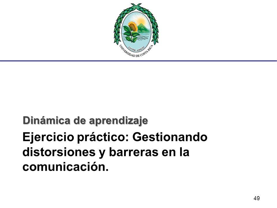 Ejercicio práctico: Gestionando distorsiones y barreras en la comunicación. Dinámica de aprendizaje 49
