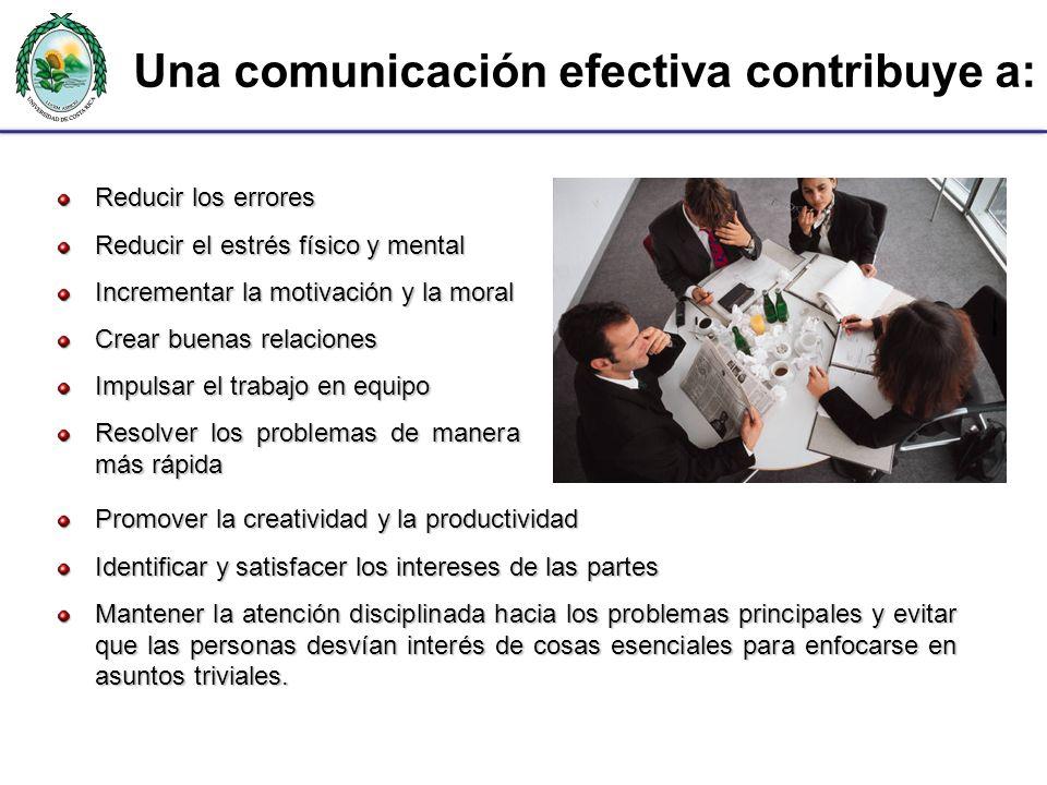 Una comunicación efectiva contribuye a: Reducir los errores Reducir el estrés físico y mental Incrementar la motivación y la moral Crear buenas relaci