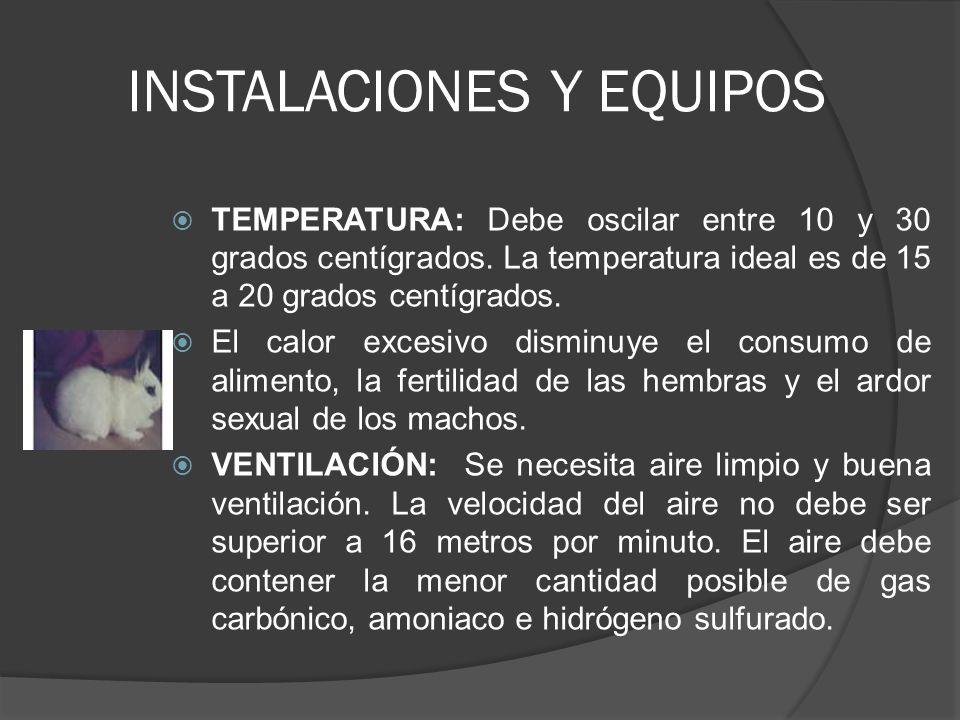 INSTALACIONES Y EQUIPOS HUMEDAD: La humedad ideal está entre 60 y 70%.