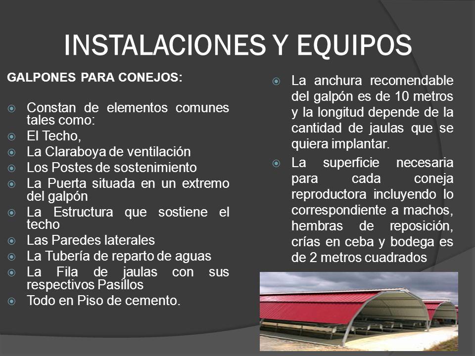 INSTALACIONES Y EQUIPOS Jaulas Se utiliza malla Nana de agujeros cuadrados de 1 centímetro de ojo.