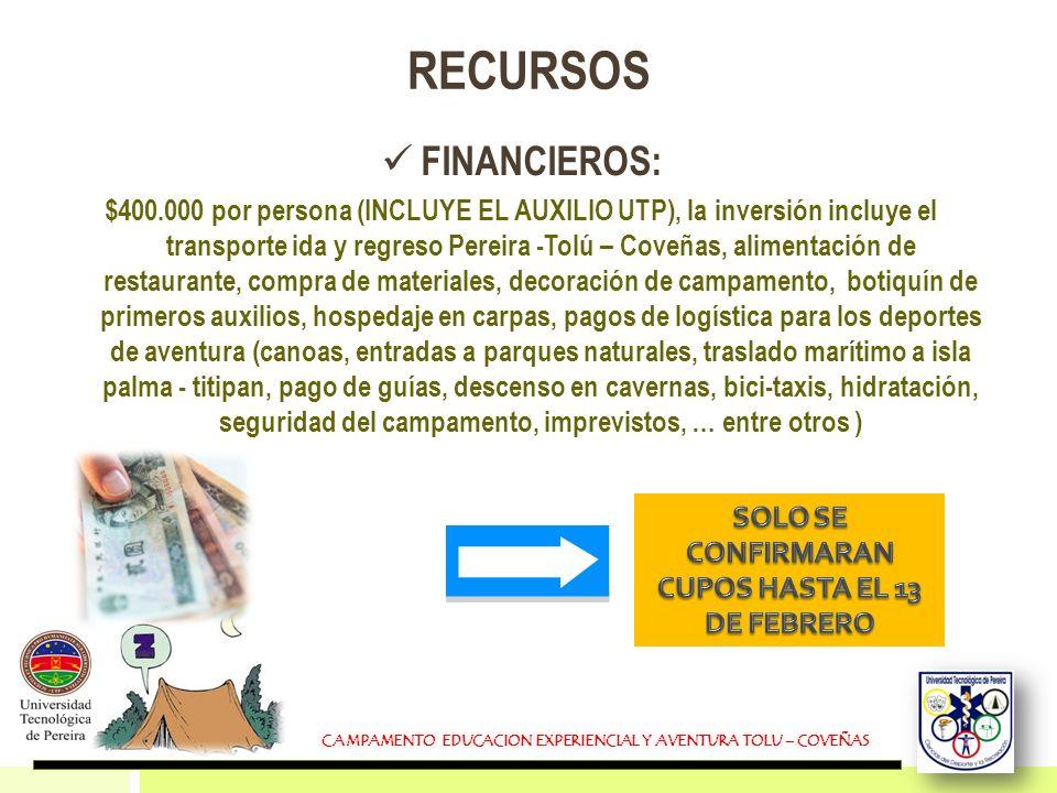 RECURSOS FINANCIEROS: $400.000 por persona (INCLUYE EL AUXILIO UTP), la inversión incluye el transporte ida y regreso Pereira -Tolú – Coveñas, aliment