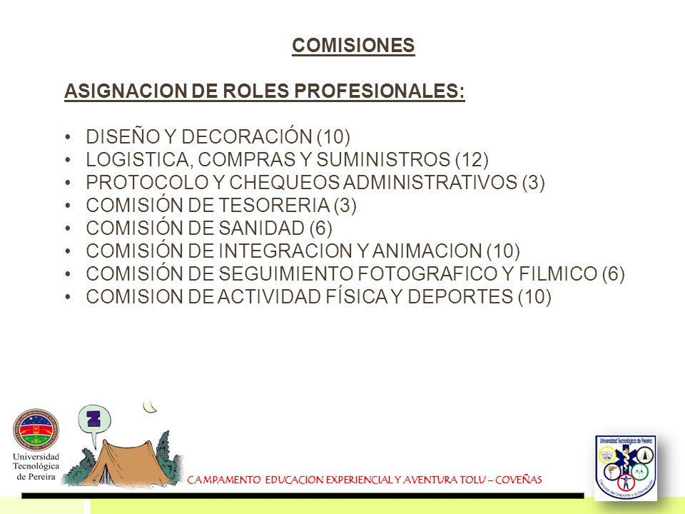 COMISIONES ASIGNACION DE ROLES PROFESIONALES: DISEÑO Y DECORACIÓN (10) LOGISTICA, COMPRAS Y SUMINISTROS (12) PROTOCOLO Y CHEQUEOS ADMINISTRATIVOS (3)