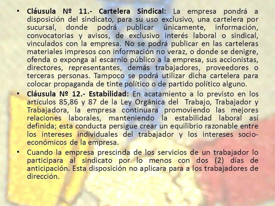 Cláusula Nº 11.- Cartelera Sindical: La empresa pondrá a disposición del sindicato, para su uso exclusivo, una cartelera por sucursal, donde podrá pub
