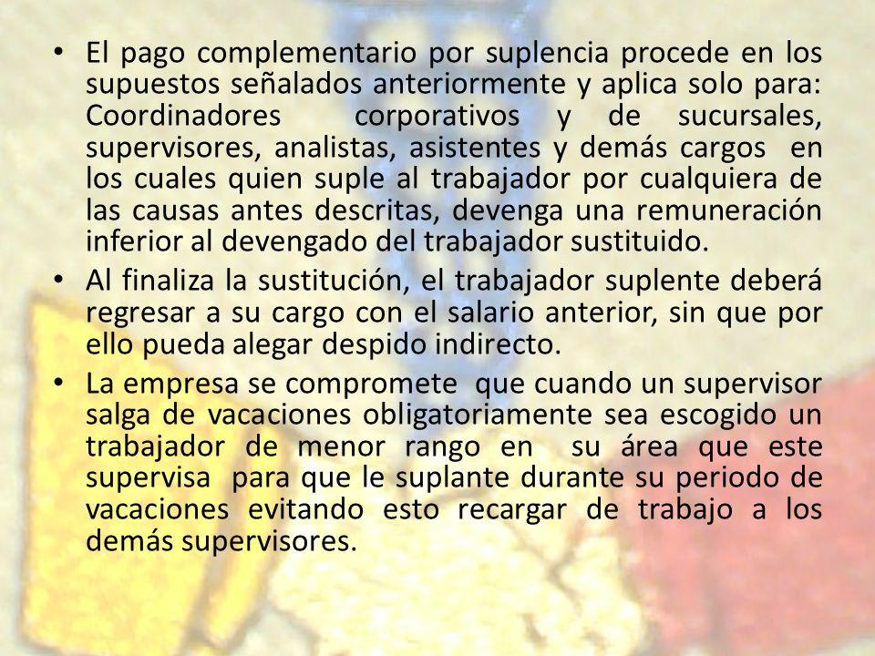 El pago complementario por suplencia procede en los supuestos señalados anteriormente y aplica solo para: Coordinadores corporativos y de sucursales,