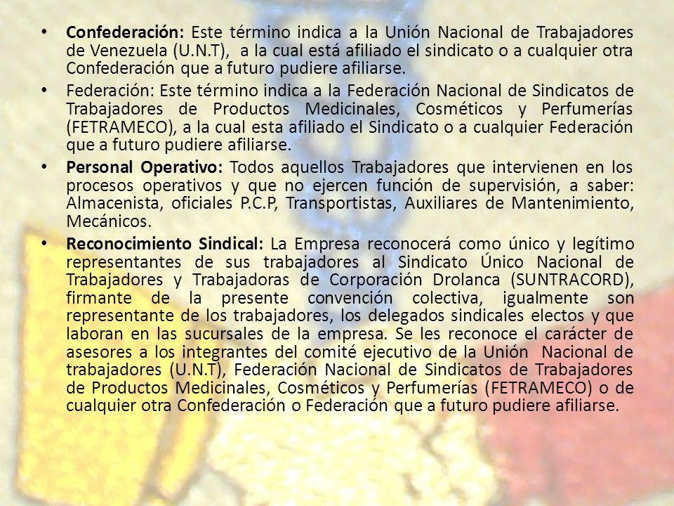 Confederación: Este término indica a la Unión Nacional de Trabajadores de Venezuela (U.N.T), a la cual está afiliado el sindicato o a cualquier otra C