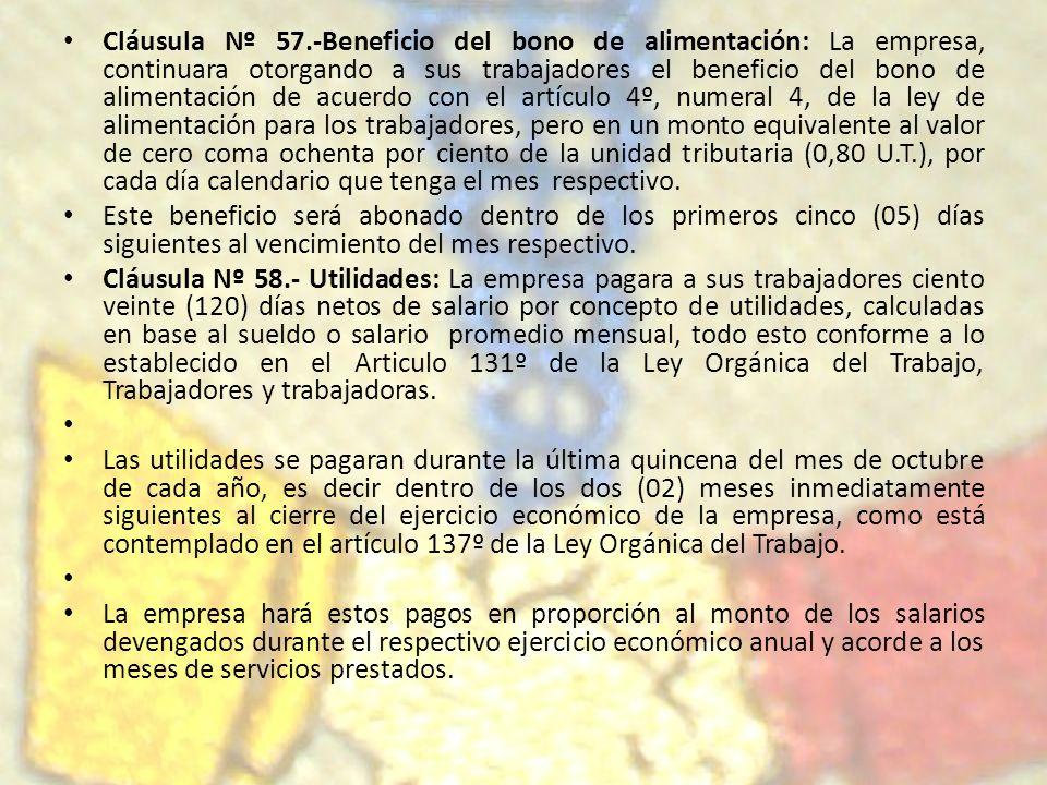 Cláusula Nº 57.-Beneficio del bono de alimentación: La empresa, continuara otorgando a sus trabajadores el beneficio del bono de alimentación de acuer