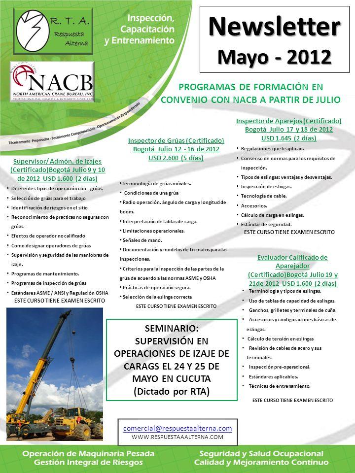 Newsletter Mayo - 2012 TIPS : CAMBIOS DE LA NORMA ASME B30.5 VERSIÓN 2011 (Aprobada por ANSI el 5 de Dic-2011) PAGINAUBICACIÓNCAMBIO 2.5.65-0.2.2Definiciones de Izaje critico y fuerza mínima de rompimiento agregados.