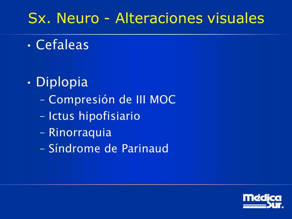 Sx. Neuro - Alteraciones visuales Cefaleas Diplopia –Compresión de III MOC –Ictus hipofisiario –Rinorraquia –Síndrome de Parinaud