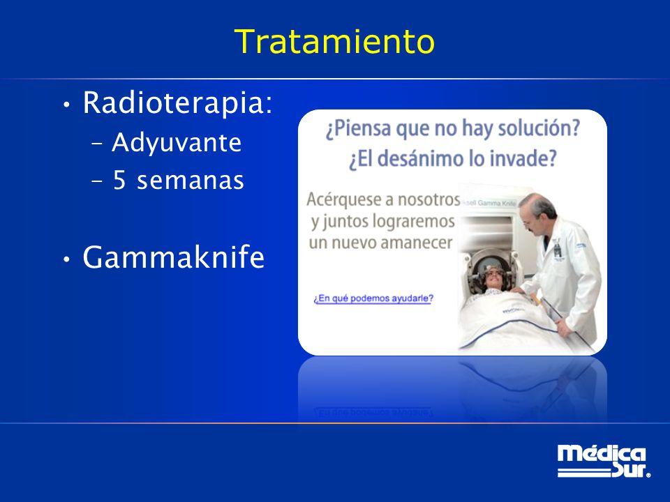 Tratamiento Radioterapia: –Adyuvante –5 semanas Gammaknife