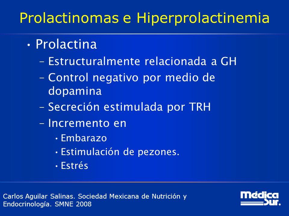 Prolactinomas e Hiperprolactinemia Prolactina –Estructuralmente relacionada a GH –Control negativo por medio de dopamina –Secreción estimulada por TRH