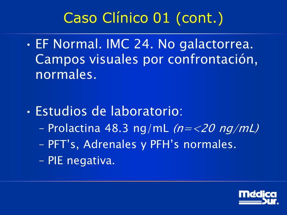 Caso Clínico 01 (cont.) EF Normal. IMC 24. No galactorrea. Campos visuales por confrontación, normales. Estudios de laboratorio: –Prolactina 48.3 ng/m