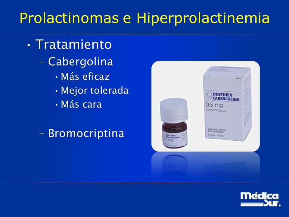 Prolactinomas e Hiperprolactinemia Tratamiento –Cabergolina Más eficaz Mejor tolerada Más cara –Bromocriptina