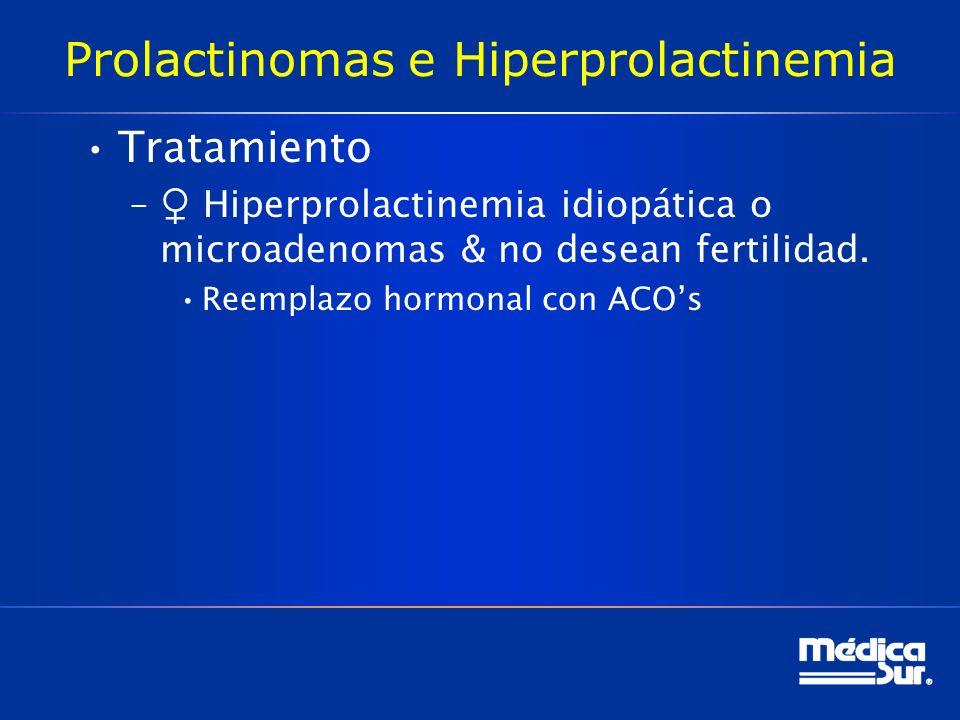 Prolactinomas e Hiperprolactinemia Tratamiento – Hiperprolactinemia idiopática o microadenomas & no desean fertilidad. Reemplazo hormonal con ACOs