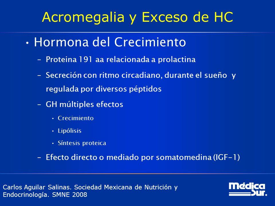 Acromegalia y Exceso de HC Hormona del Crecimiento –Proteina 191 aa relacionada a prolactina –Secreción con ritmo circadiano, durante el sueño y regul