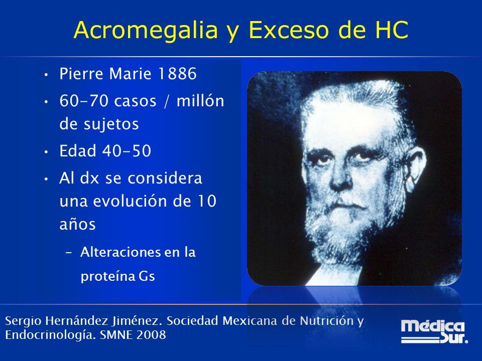 Acromegalia y Exceso de HC Pierre Marie 1886 60-70 casos / millón de sujetos Edad 40-50 Al dx se considera una evolución de 10 años –Alteraciones en l