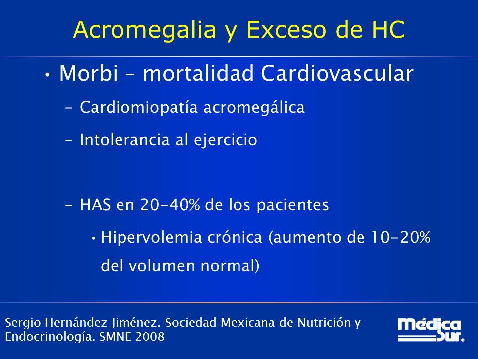 Acromegalia y Exceso de HC Morbi – mortalidad Cardiovascular –Cardiomiopatía acromegálica –Intolerancia al ejercicio –HAS en 20-40% de los pacientes H