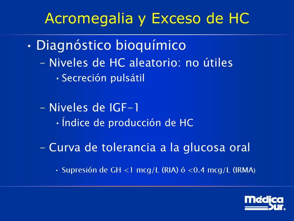 Acromegalia y Exceso de HC Diagnóstico bioquímico –Niveles de HC aleatorio: no útiles Secreción pulsátil –Niveles de IGF-1 Índice de producción de HC