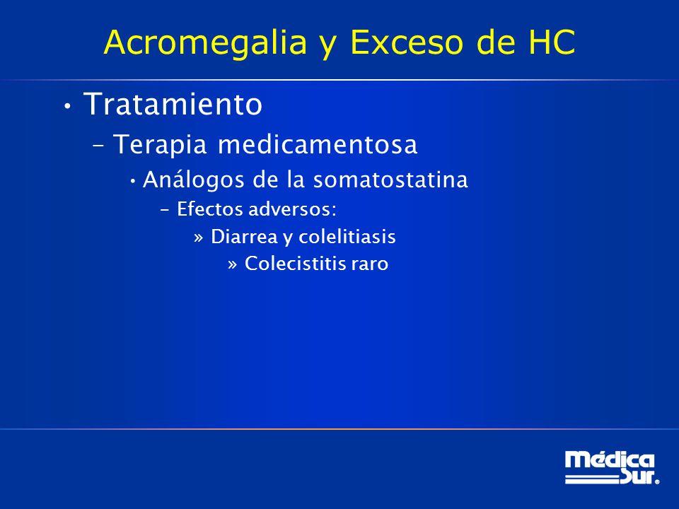 Acromegalia y Exceso de HC Tratamiento –Terapia medicamentosa Análogos de la somatostatina –Efectos adversos: »Diarrea y colelitiasis »Colecistitis ra