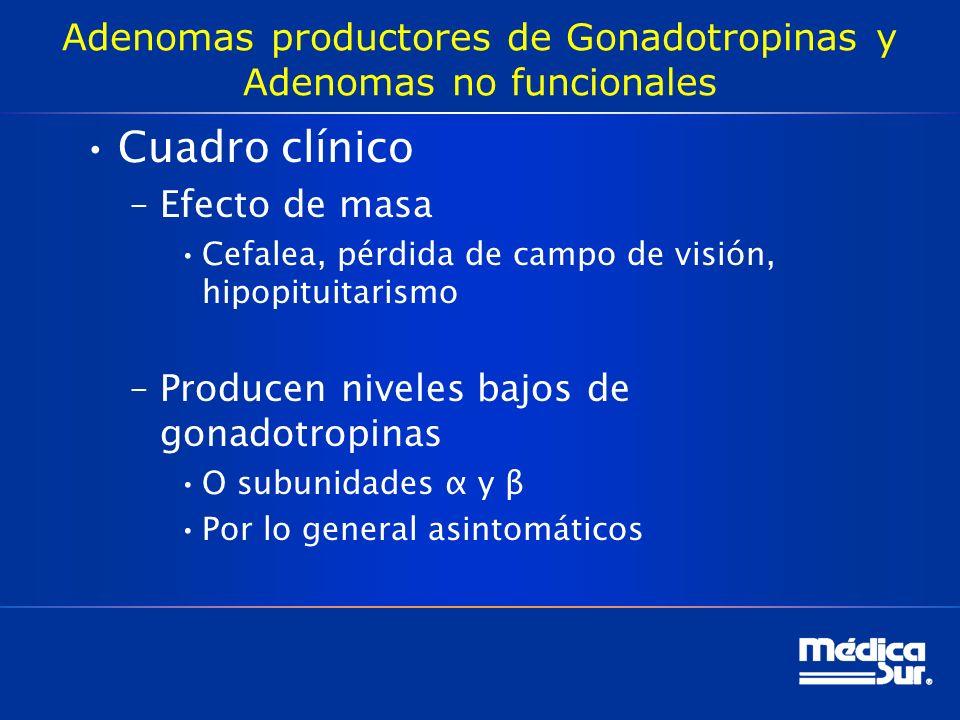 Adenomas productores de Gonadotropinas y Adenomas no funcionales Cuadro clínico –Efecto de masa Cefalea, pérdida de campo de visión, hipopituitarismo
