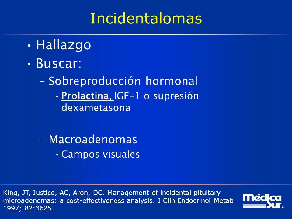 Incidentalomas Hallazgo Buscar: –Sobreproducción hormonal Prolactina, IGF-1 o supresión dexametasona –Macroadenomas Campos visuales King, JT, Justice,