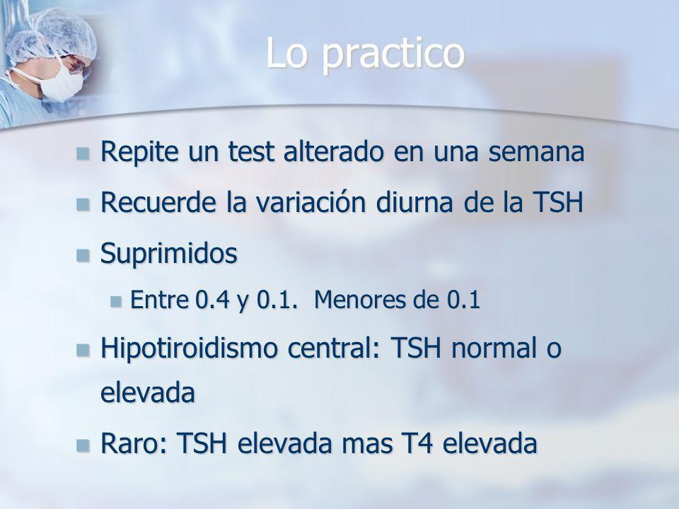 Repite un test alterado en una semana Repite un test alterado en una semana Recuerde la variación diurna de la TSH Recuerde la variación diurna de la TSH Suprimidos Suprimidos Entre 0.4 y 0.1.