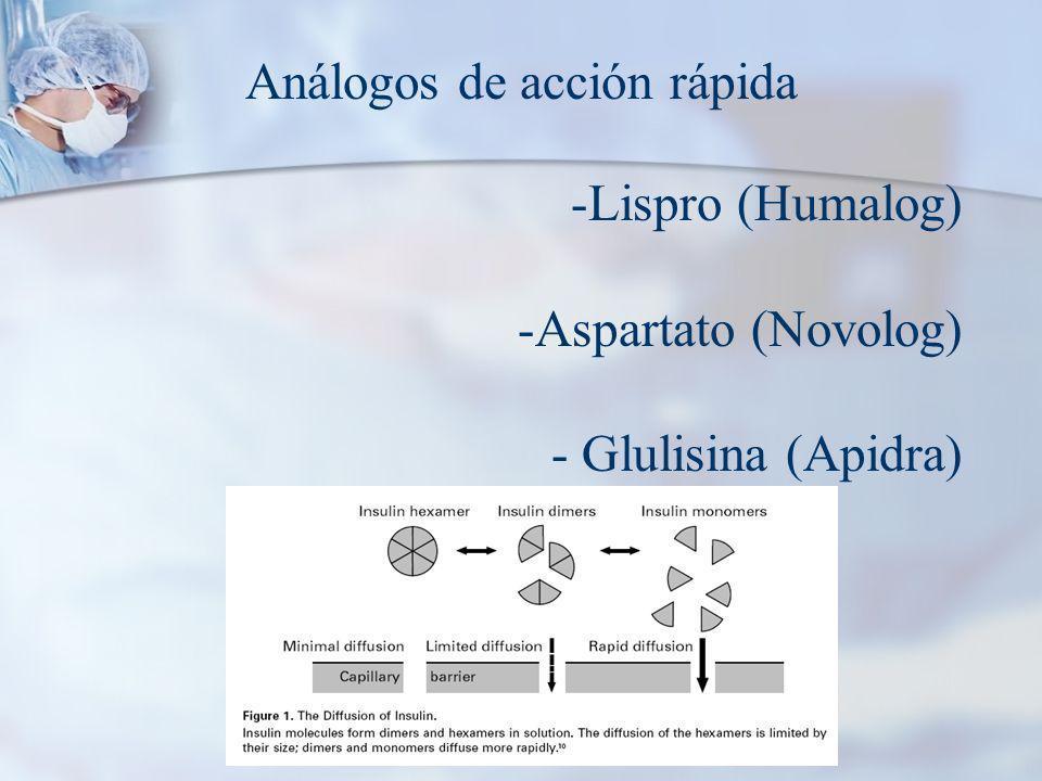 Análogos de acción rápida -Lispro (Humalog) -Aspartato (Novolog) - Glulisina (Apidra)