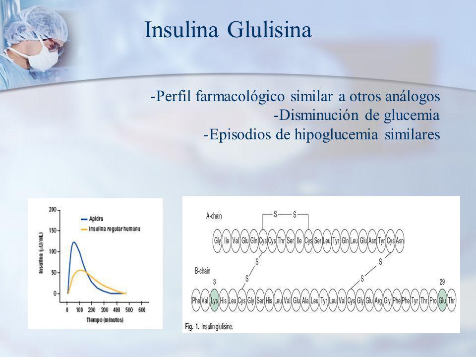 Insulina Glulisina -Perfil farmacológico similar a otros análogos -Disminución de glucemia -Episodios de hipoglucemia similares