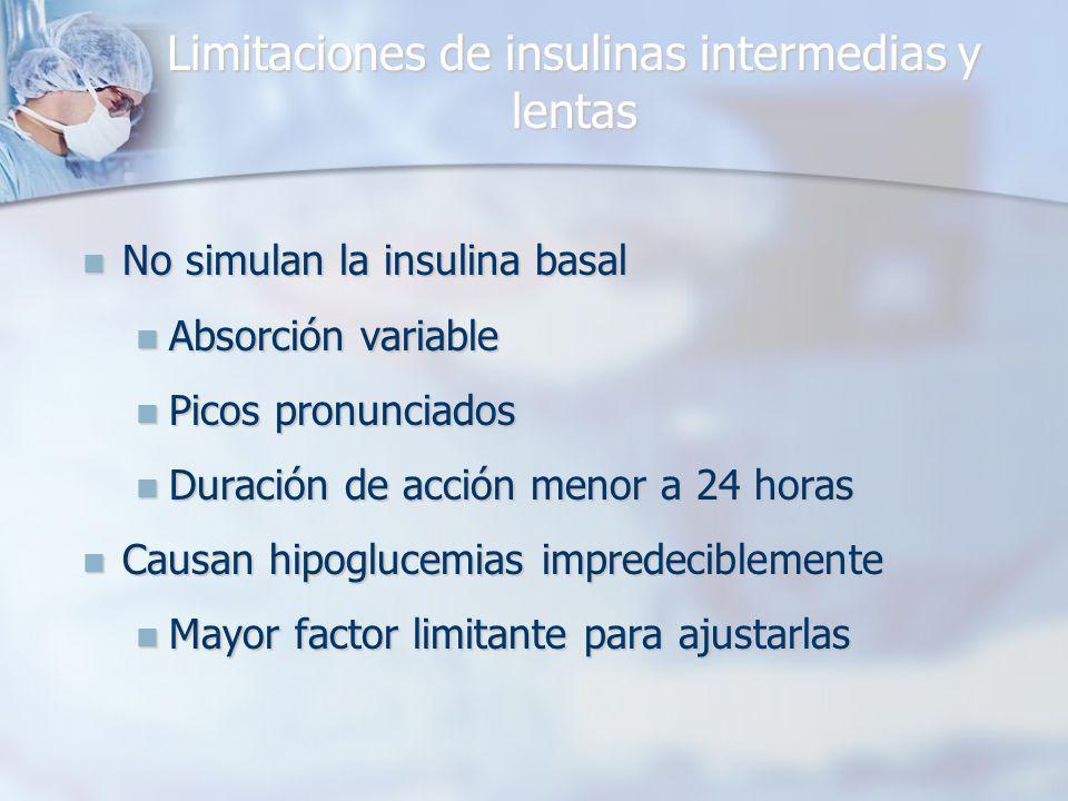Limitaciones de insulinas intermedias y lentas No simulan la insulina basal No simulan la insulina basal Absorción variable Absorción variable Picos pronunciados Picos pronunciados Duración de acción menor a 24 horas Duración de acción menor a 24 horas Causan hipoglucemias impredeciblemente Causan hipoglucemias impredeciblemente Mayor factor limitante para ajustarlas Mayor factor limitante para ajustarlas