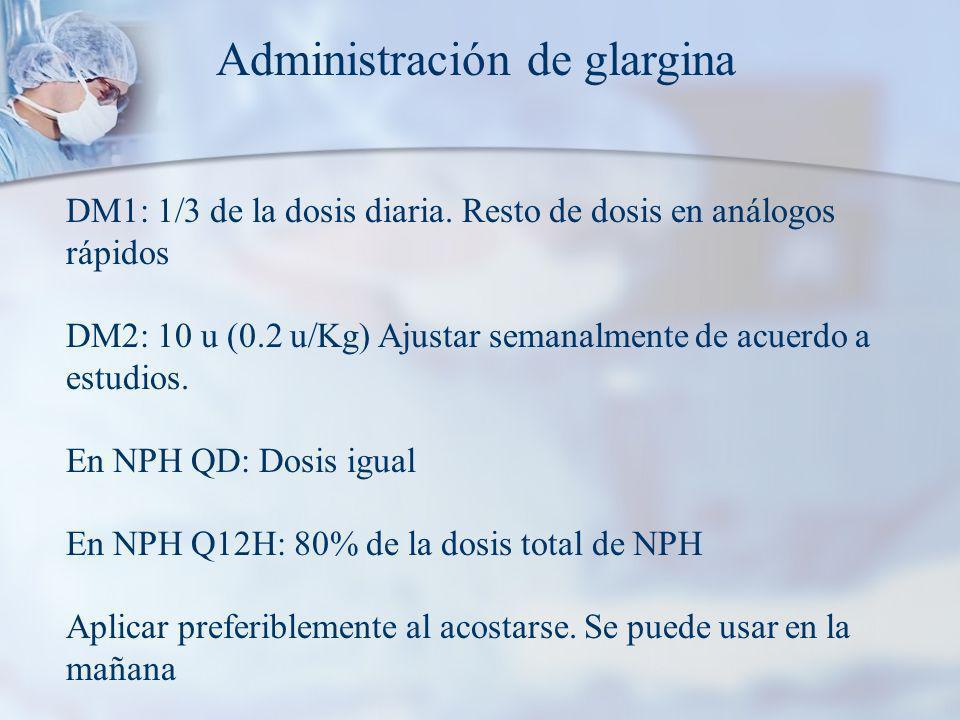 Administración de glargina DM1: 1/3 de la dosis diaria.