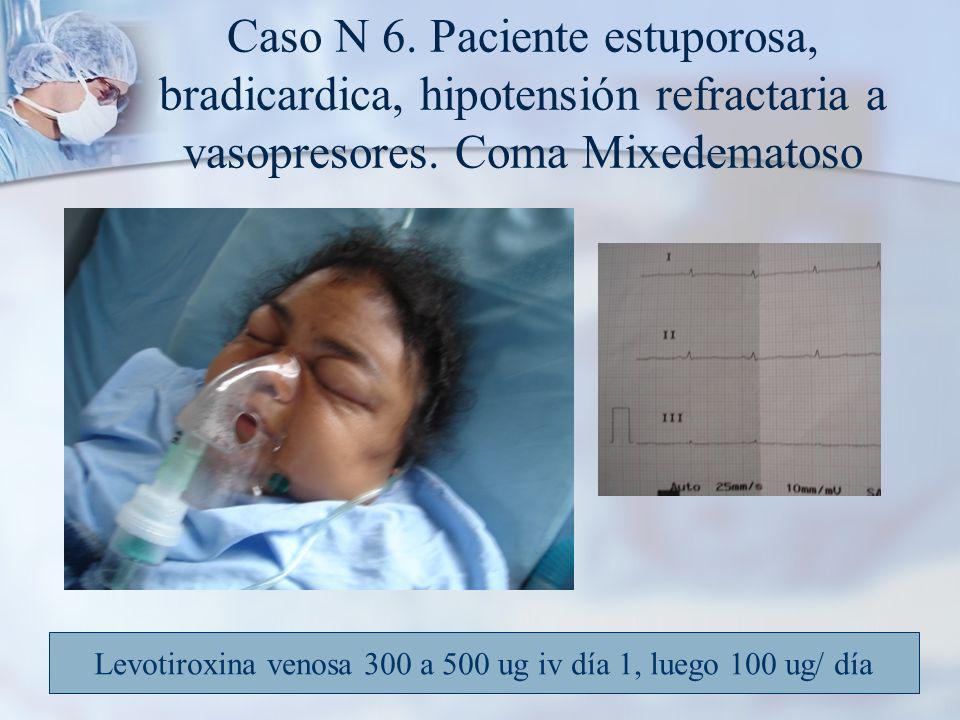 Caso N 6.Paciente estuporosa, bradicardica, hipotensión refractaria a vasopresores.