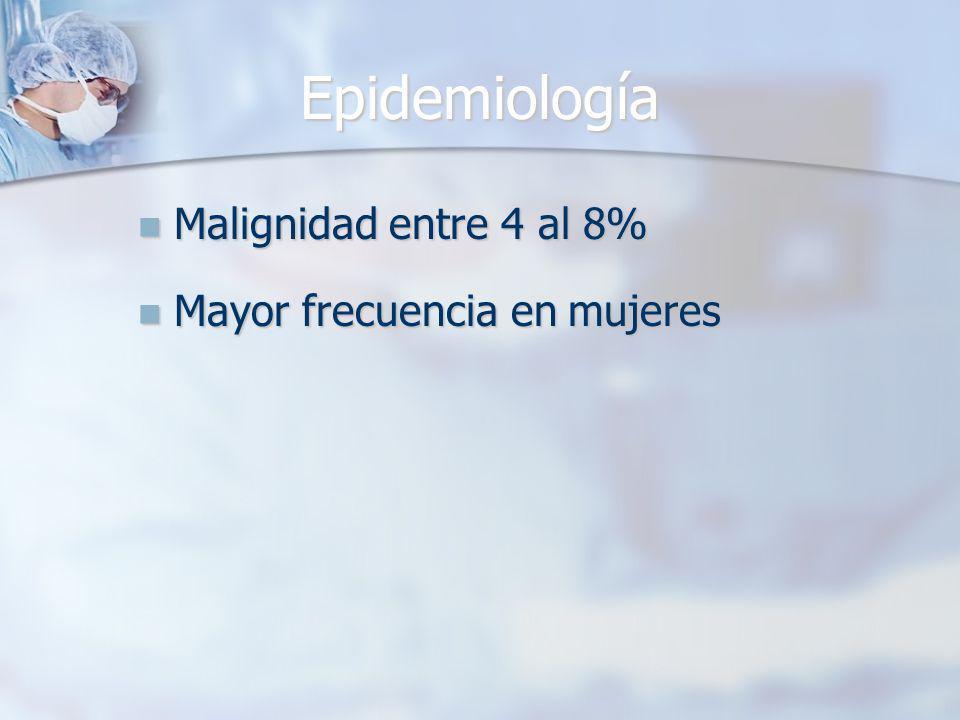 Epidemiología Malignidad entre 4 al 8% Malignidad entre 4 al 8% Mayor frecuencia en mujeres Mayor frecuencia en mujeres