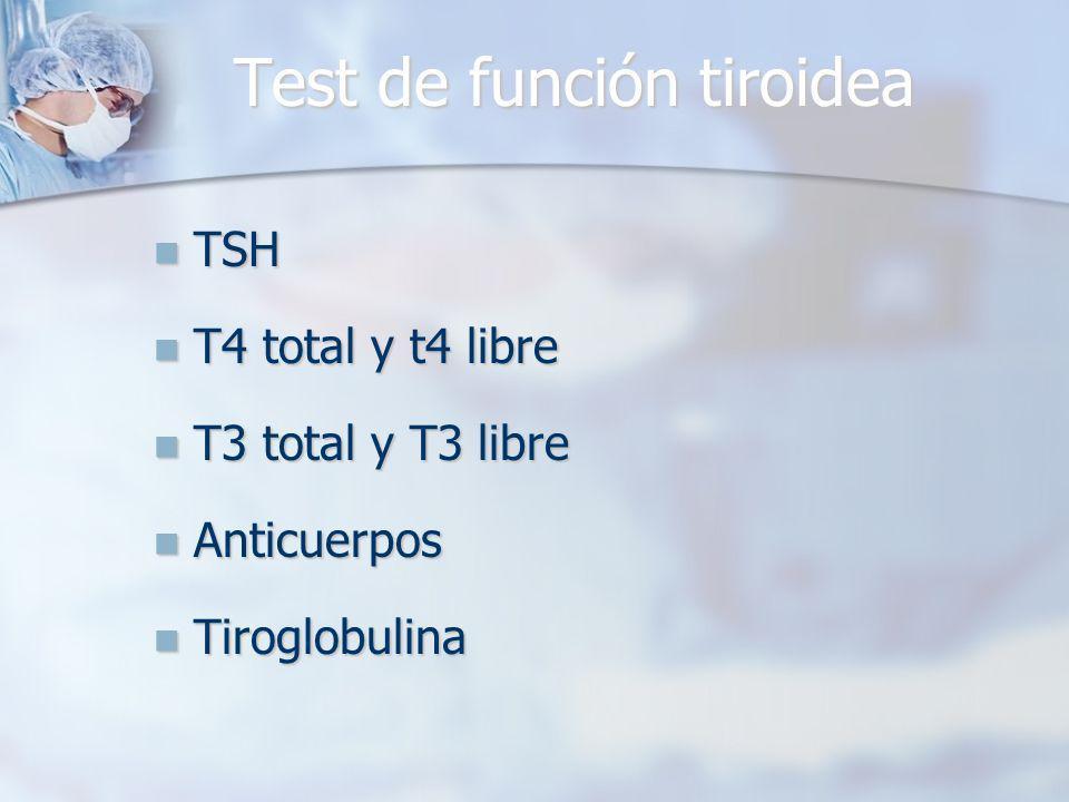 TSH TSH T4 total y t4 libre T4 total y t4 libre T3 total y T3 libre T3 total y T3 libre Anticuerpos Anticuerpos Tiroglobulina Tiroglobulina Test de función tiroidea