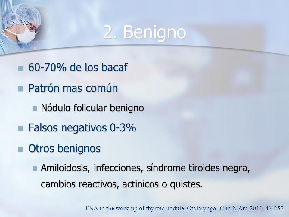 2. Benigno 60-70% de los bacaf 60-70% de los bacaf Patrón mas común Patrón mas común Nódulo folicular benigno Nódulo folicular benigno Falsos negativo