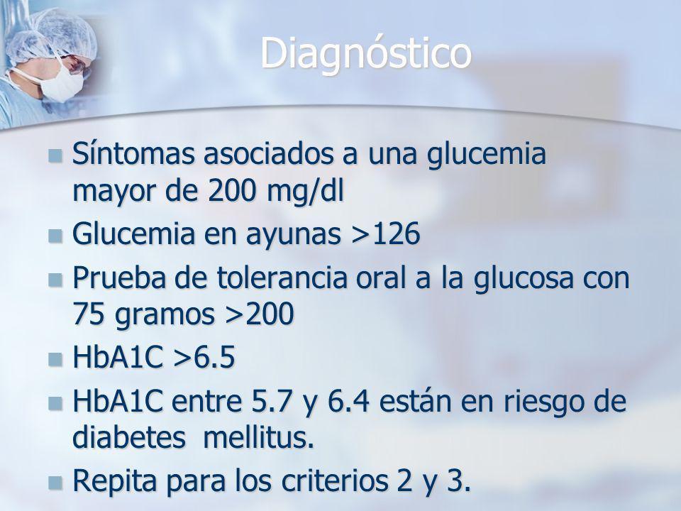 Diagnóstico Síntomas asociados a una glucemia mayor de 200 mg/dl Síntomas asociados a una glucemia mayor de 200 mg/dl Glucemia en ayunas >126 Glucemia en ayunas >126 Prueba de tolerancia oral a la glucosa con 75 gramos >200 Prueba de tolerancia oral a la glucosa con 75 gramos >200 HbA1C >6.5 HbA1C >6.5 HbA1C entre 5.7 y 6.4 están en riesgo de diabetes mellitus.
