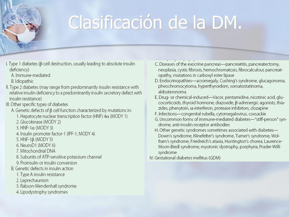 Clasificación de la DM.