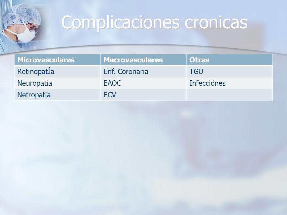 Complicaciones cronicas MicrovascularesMacrovascularesOtras RetinopatÍaEnf.