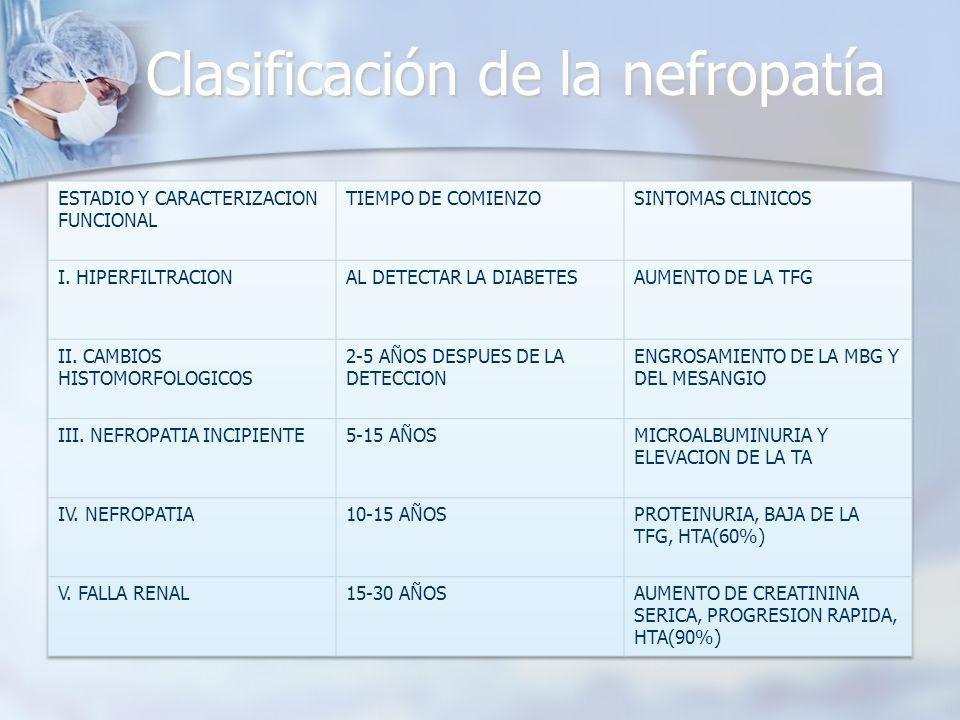 Clasificación de la nefropatía
