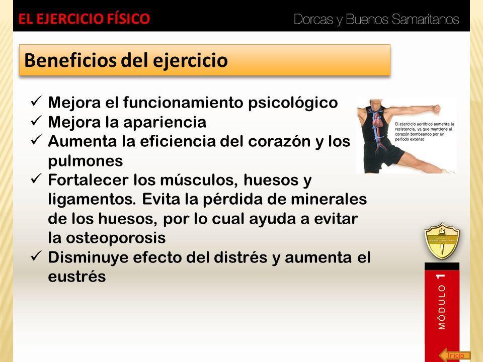 Inicio EL EJERCICIO FÍSICO Beneficios del ejercicio Mejora el funcionamiento psicológico Mejora la apariencia Aumenta la eficiencia del corazón y los