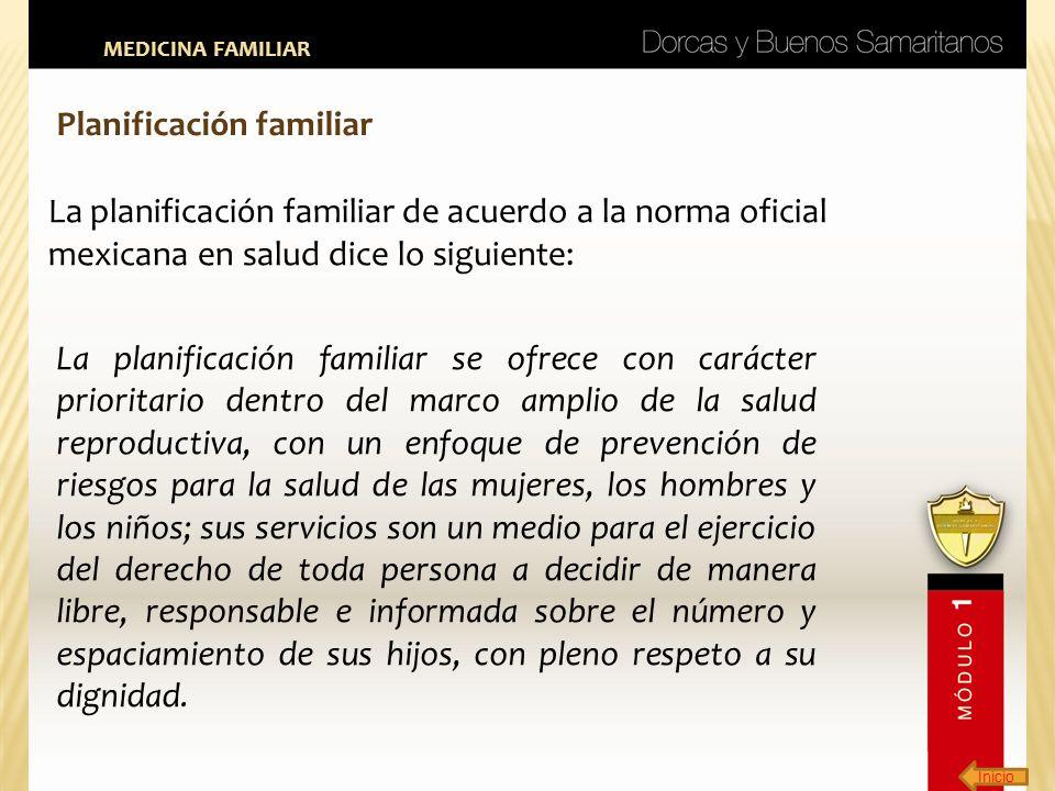 Inicio MEDICINA FAMILIAR Planificación familiar La planificación familiar de acuerdo a la norma oficial mexicana en salud dice lo siguiente: La planif