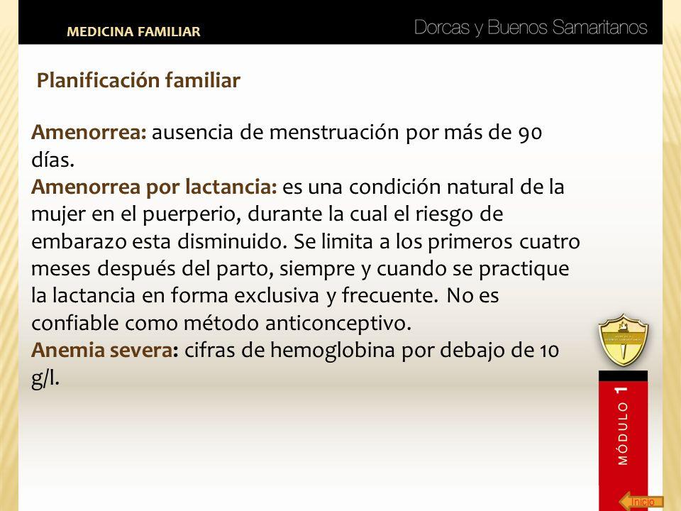 Inicio MEDICINA FAMILIAR Planificación familiar Amenorrea: ausencia de menstruación por más de 90 días. Amenorrea por lactancia: es una condición natu