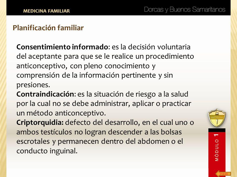 Inicio MEDICINA FAMILIAR Planificación familiar Consentimiento informado: es la decisión voluntaria del aceptante para que se le realice un procedimie