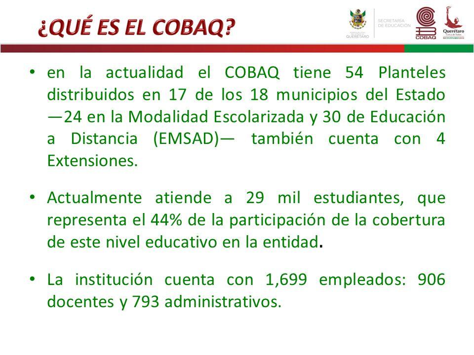 en la actualidad el COBAQ tiene 54 Planteles distribuidos en 17 de los 18 municipios del Estado 24 en la Modalidad Escolarizada y 30 de Educación a Di