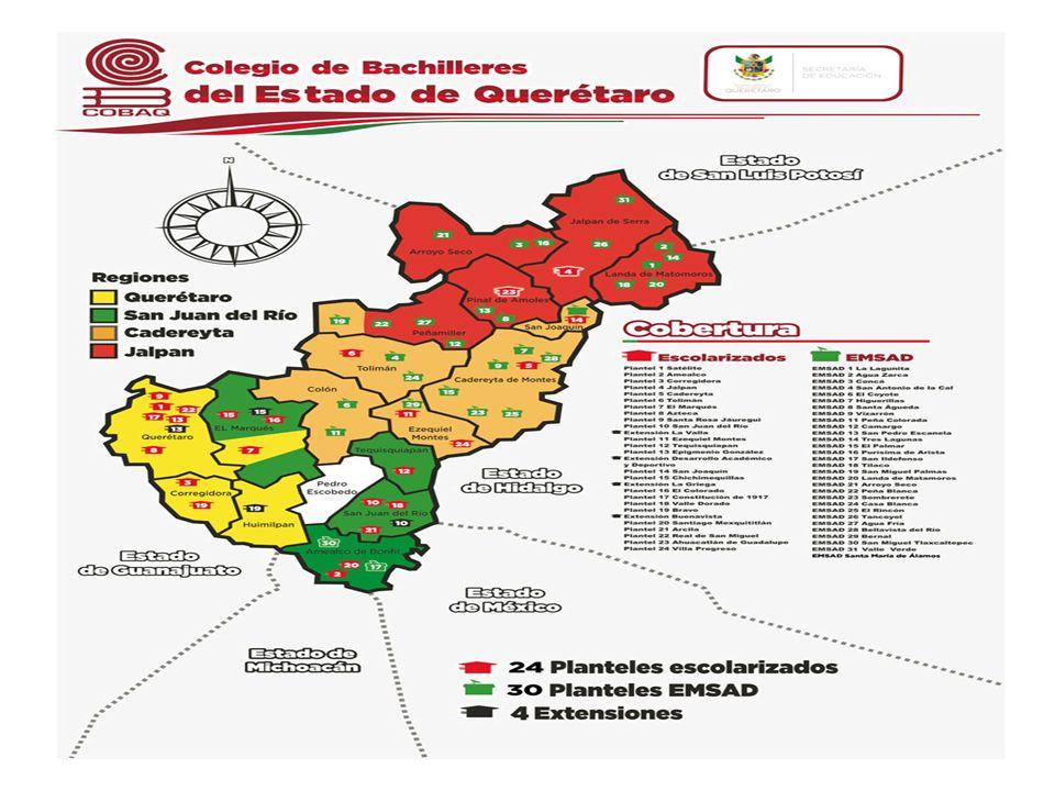 Ubicación Geográfica Planteles Sistema COBAQ