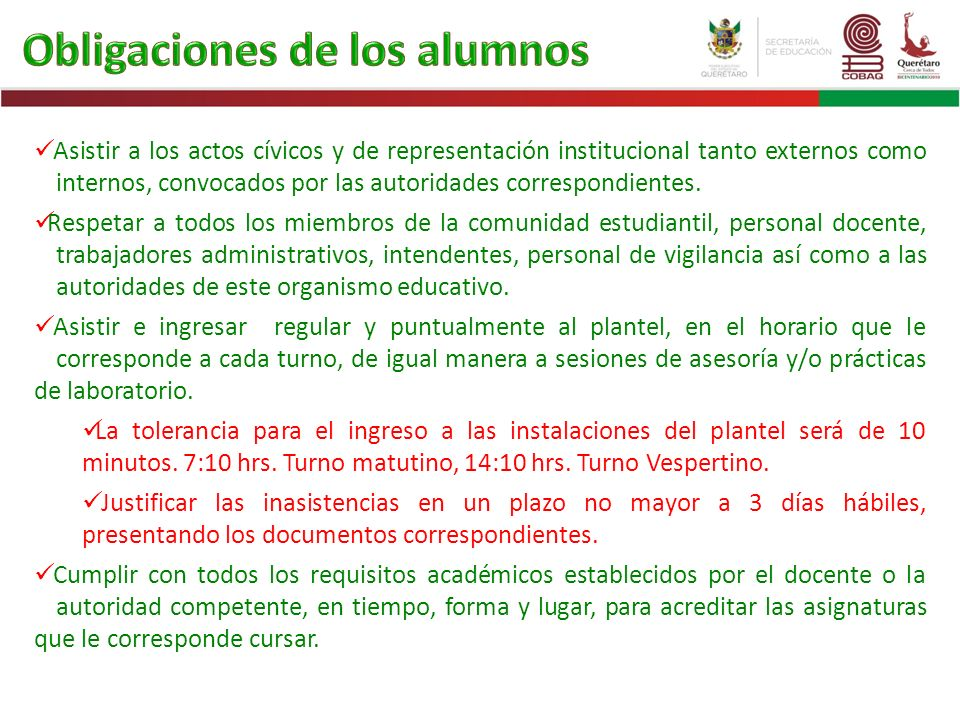 Asistir a los actos cívicos y de representación institucional tanto externos como internos, convocados por las autoridades correspondientes. Respetar