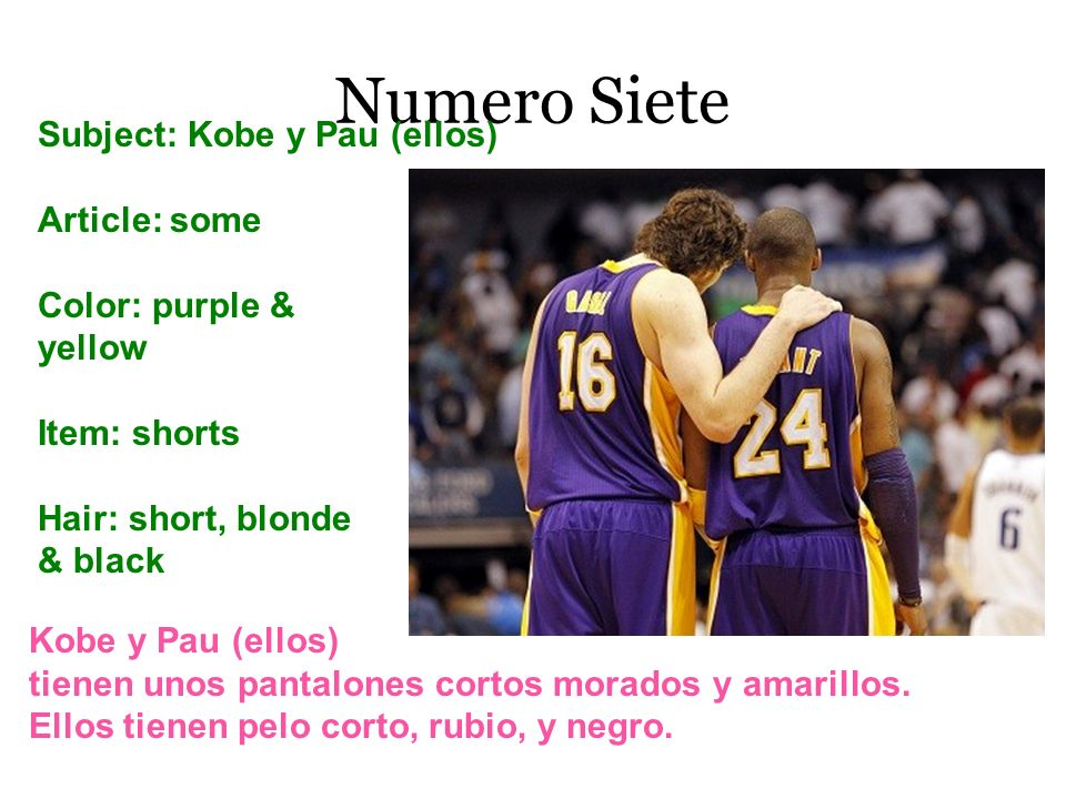 Numero Siete Subject: Kobe y Pau (ellos) Article: some Color: purple & yellow Item: shorts Hair: short, blonde & black Kobe y Pau (ellos) tienen unos