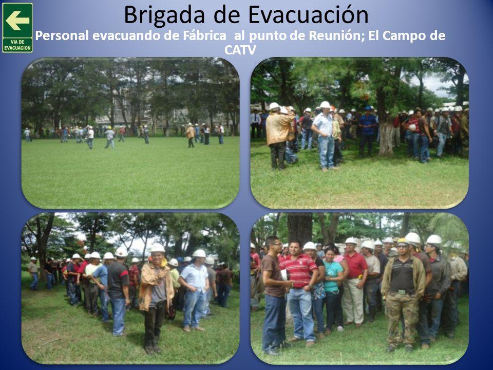 Brigada de Evacuación Personal evacuando de Fábrica al punto de Reunión; El Campo de CATV
