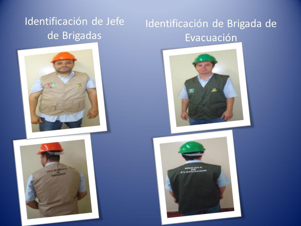Identificación de Jefe de Brigadas Identificación de Brigada de Evacuación