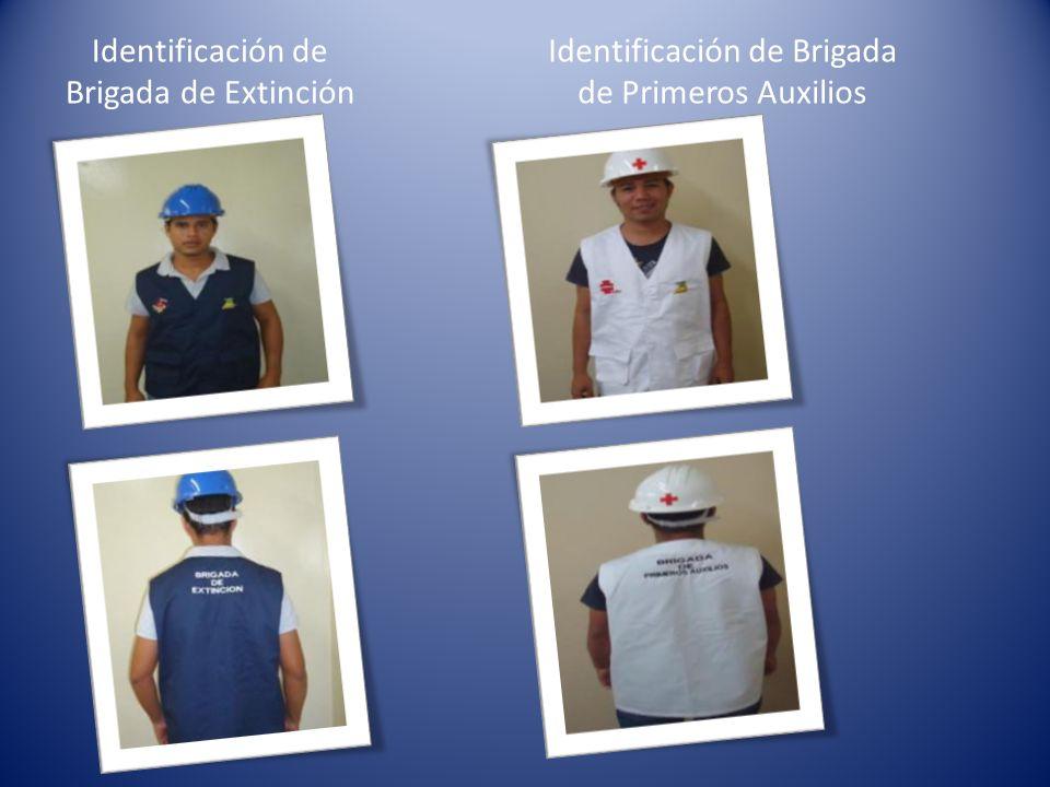 Identificación de Brigada de Extinción Identificación de Brigada de Primeros Auxilios